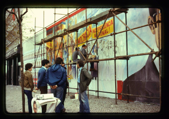 1981 Mural painting on Avenida Duarte Pacheco about General Ramalho Eanes' second candidacy for presidential elections