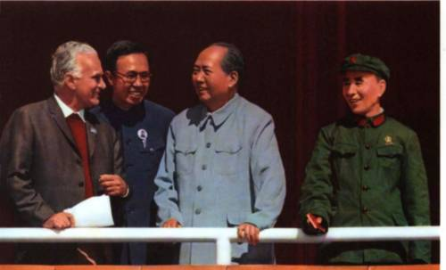 Mao, together with Lin Biao (right) chatting with American journalist Edgar Snow on the top of Tian'anmen Tower (Oct 1, 1970)