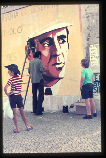 Mural at the Higher Technical Institute of General Ramalho Eanes campaign for presidential elections