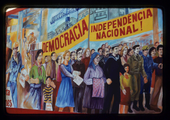 Mural painting on Avenida Duarte Pacheco about General Ramalho Eanes' second candidacy for presidential elections