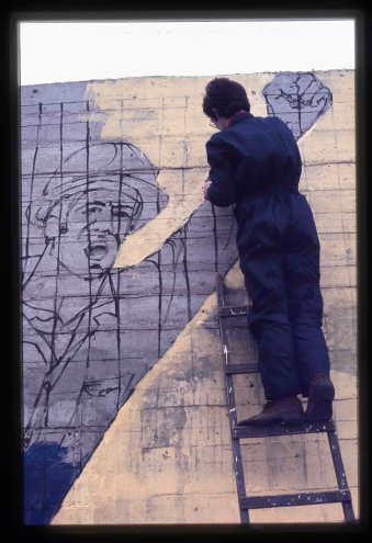 Painting of the PCTP-MRPP mural near the Lisbon Petrochemicals 1977