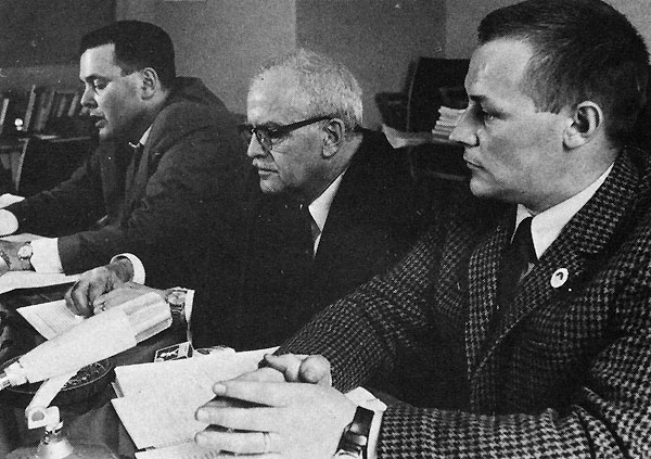 Communist_Party_Sweden_1967Gustafsson (left) with Nils Holmberg and Frank Baude .