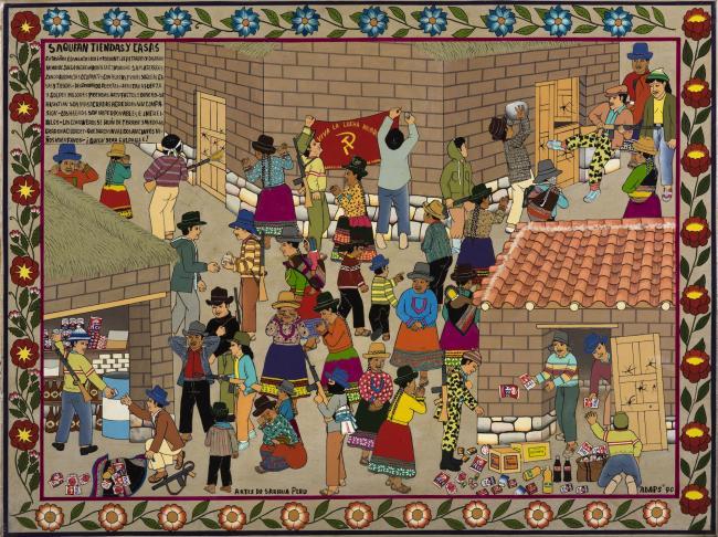 Asociación de Artistas Populares de SarhuaSaquean Tiendas y Casas (Looting stores and homes)